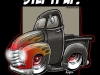 51 chevy truckTSHIRTFLAMESblack